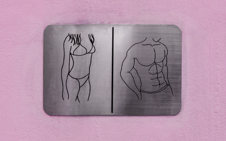 Gender stereotype images of male and female torsos
